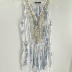 Tinley tie-dye romper with embroidery detailing